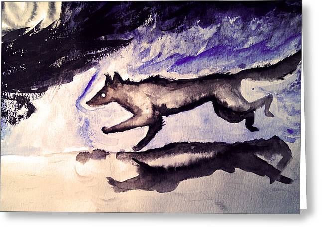 Puppies Mixed Media Greeting Cards - Wolf runs into darkness Greeting Card by Jeren Cdebaca