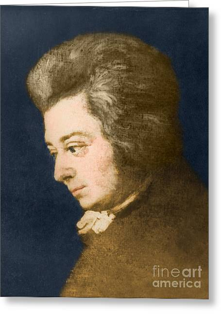 Color Enhanced Greeting Cards - Wolfgang Amadeus Mozart, Austrian Greeting Card by Omikron