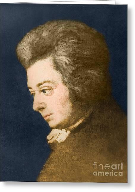 Enhanced Greeting Cards - Wolfgang Amadeus Mozart, Austrian Greeting Card by Omikron