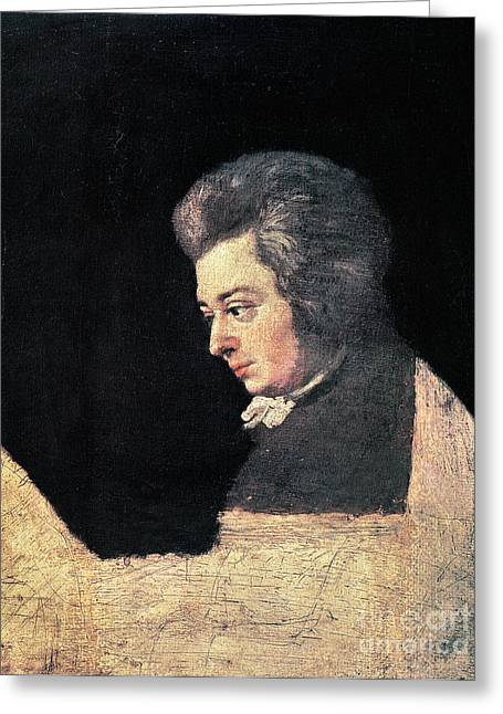 Wolfgang Greeting Cards - Wolfgang Amadeus Mozart Greeting Card by Granger