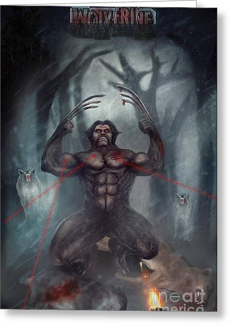 Xmen Poster Greeting Cards - Wolf  Greeting Card by Z K