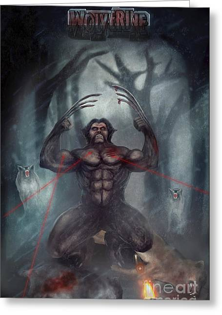 X Men Poster Greeting Cards - Wolverine A Wolf  Greeting Card by Z K