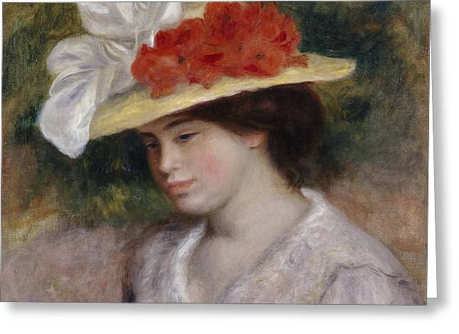 Renoir Greeting Cards - Woman in a Flowered Hat Greeting Card by Auguste Renoir