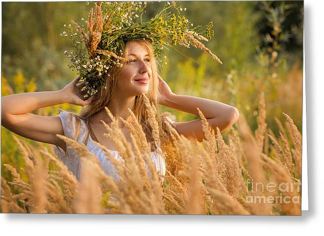 People Greeting Cards - Woman In A Wreath Greeting Card by Aleksey Tugolukov