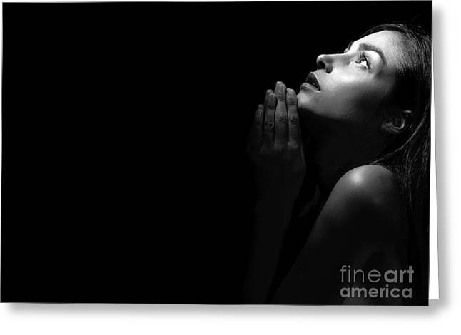 Woman Praying Greeting Card by Aleksey Tugolukov
