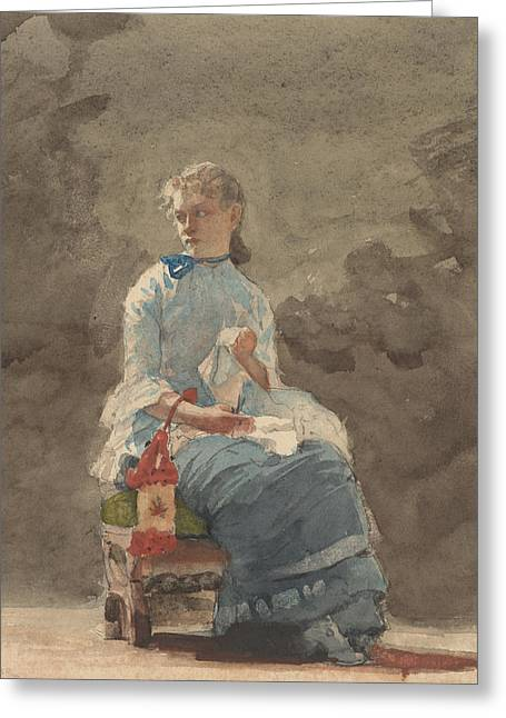 Woman Sewing Greeting Card by Winslow Homer