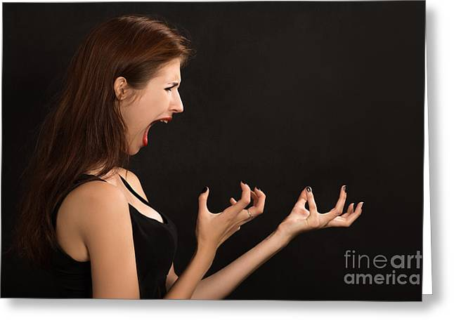Distraught Greeting Cards - Woman Shouts Greeting Card by Aleksey Tugolukov
