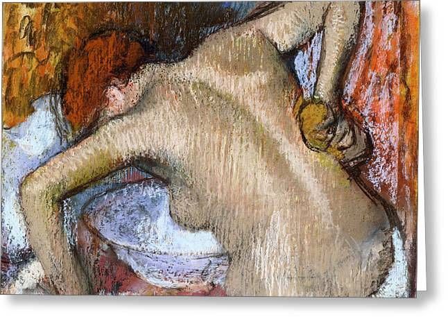 Print Pastels Greeting Cards - Woman Sponging Her Back Greeting Card by Edgar Degas
