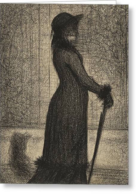 Seurat Greeting Cards - Woman strolling Greeting Card by Georges Pierre Seurat