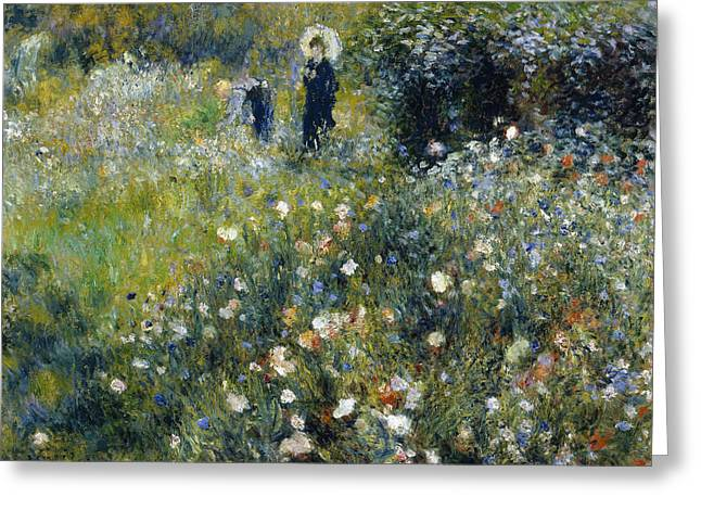 Renoir Greeting Cards - Woman with a Parasol in a Garden Greeting Card by Auguste Renoir