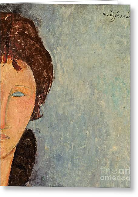 Geometrical Art Paintings Greeting Cards - Woman with Blue Eyes Greeting Card by Amedeo Modigliani