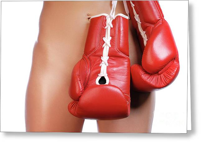 Defensive Greeting Cards - Woman with Boxing Gloves Greeting Card by Oleksiy Maksymenko