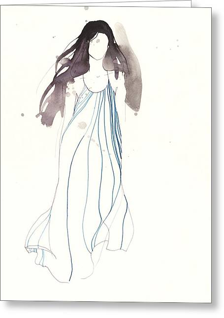 White Background Drawings Greeting Cards - Woman with dress from Chloe Greeting Card by Toril Baekmark