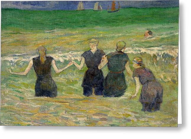 Gauguin Style Greeting Cards - Women Bathing Greeting Card by Paul Gauguin