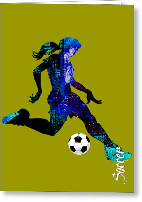 Girls Soccer Art Greeting Cards - Womens Girls Soccer Collection Greeting Card by Marvin Blaine