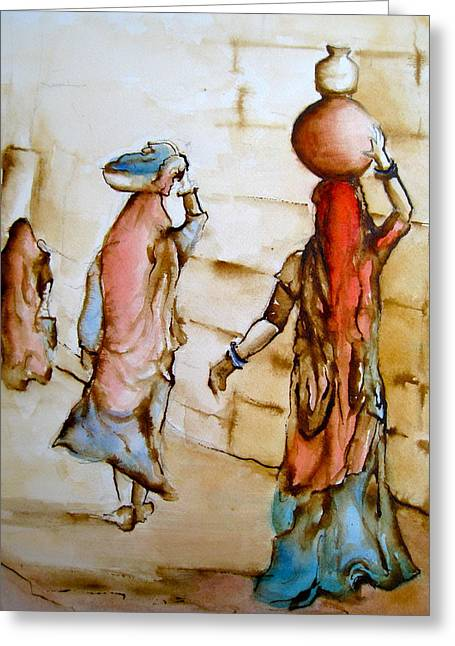 At Work Drawings Greeting Cards - Womens Work Greeting Card by Myra Evans