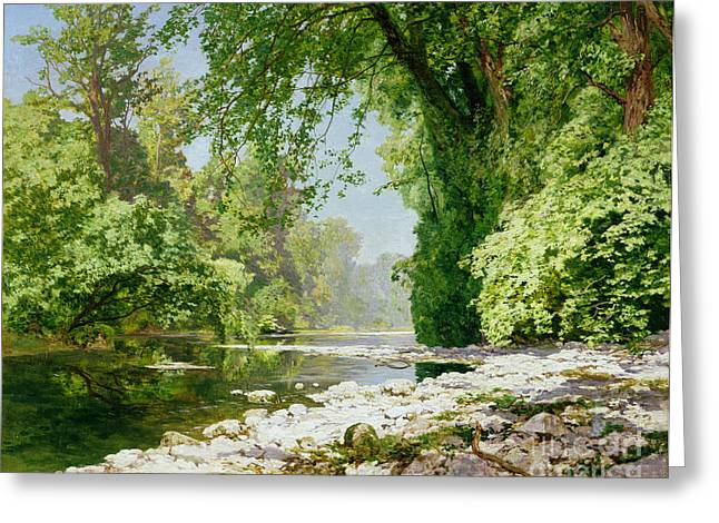 Riverscapes Greeting Cards - Wooded riverscape Greeting Card by Leopold Rolhaug