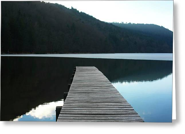 Absence Greeting Cards - Wooden pontoon Greeting Card by Bernard Jaubert