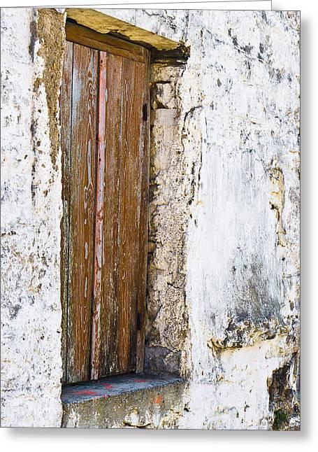 Wooden Shutter Greeting Card by Tom Gowanlock