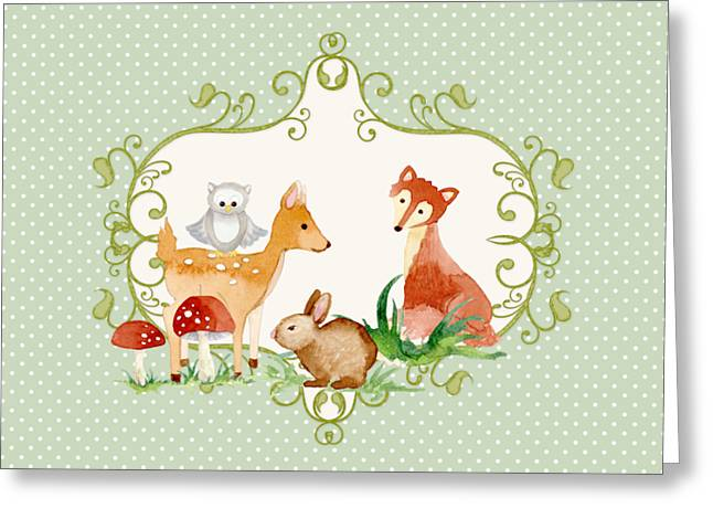 Woodland Fairytale - Animals Deer Owl Fox Bunny N Mushrooms Greeting Card by Audrey Jeanne Roberts