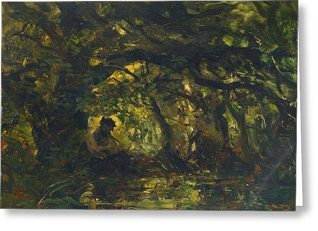 Woodland Scene With Pan Playing A Flute Greeting Card by Carl Ebert