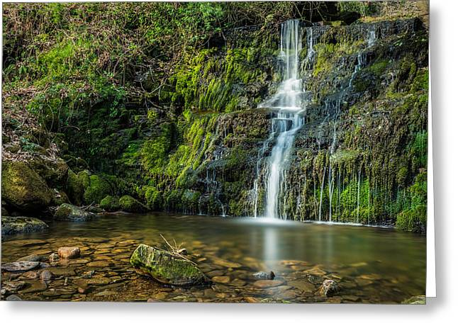 Hiking Greeting Cards - Woodland Waterfall Tigers Clough. Greeting Card by Daniel Kay