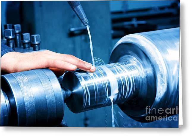 Cnc Greeting Cards - Worker measuring on industrial turning machine Greeting Card by Michal Bednarek