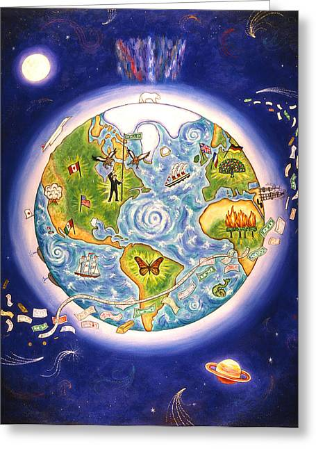 Planet Money Greeting Cards - World Economy Greeting Card by Linda Mears