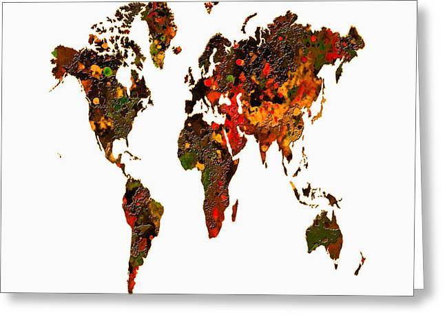 World Map 2b Greeting Card by Brian Reaves
