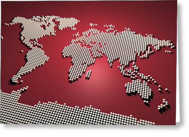 Mapping Greeting Cards - World Map in Red Greeting Card by Michael Tompsett