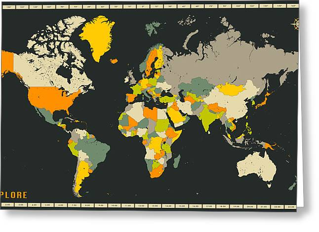 World Map Greeting Card by Jazzberry Blue