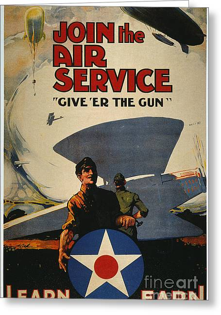 U.s Army Greeting Cards - World War I: Air Service Greeting Card by Granger