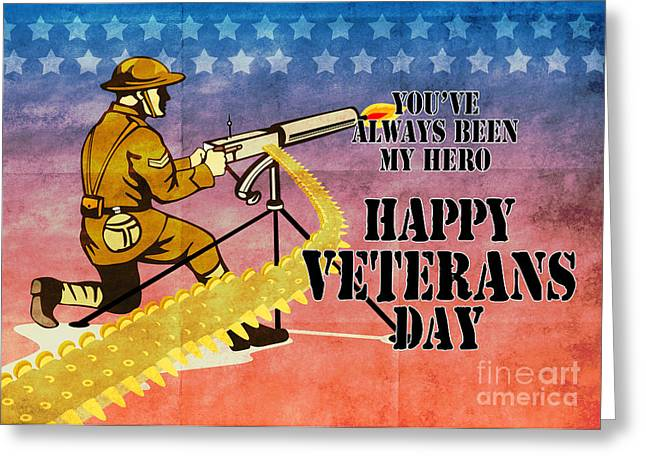 World War One Digital Greeting Cards - World War One American soldier firing machine gun  Greeting Card by Aloysius Patrimonio