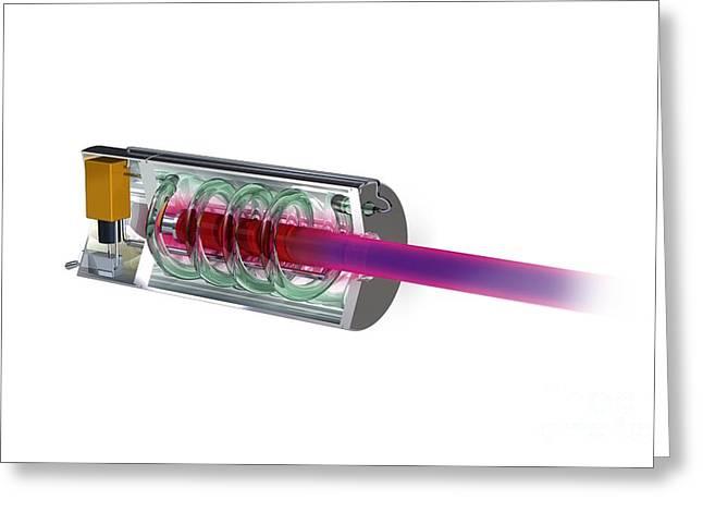 Worlds First Working Laser, Artwork Greeting Card by Claus Lunau