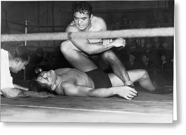 Boxer Shorts Greeting Cards - Wrestling Champion Jim Londos Greeting Card by Underwood Archives