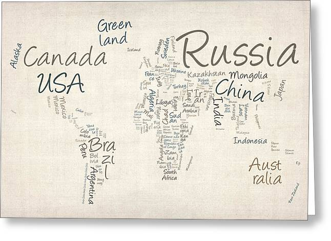 World Map Canvas Greeting Cards - Writing Text Map of the World Map Greeting Card by Michael Tompsett