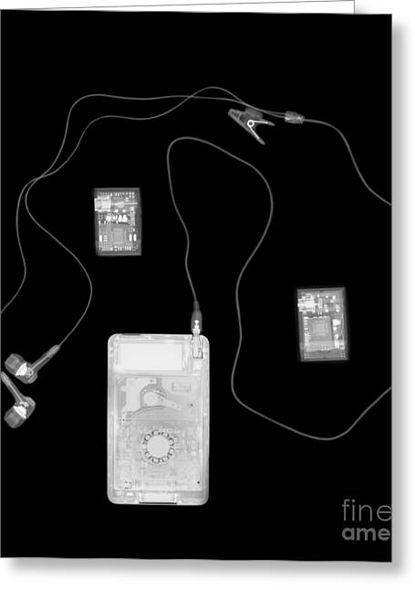 Straps Greeting Cards - X-ray Of A Portable Audio Player Greeting Card by PhotoStock-Israel
