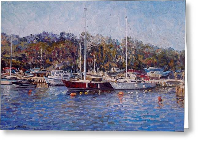 August Greeting Cards - Yahts at the Black Sea Greeting Card by Andrey Soldatenko