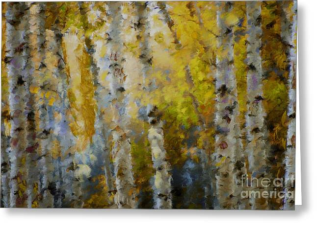 Marilyn Sholin Mixed Media Greeting Cards - Yellow Aspens Greeting Card by Marilyn Sholin