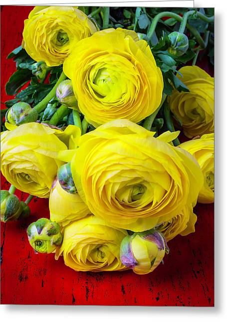 Yellows Greeting Cards - Yellow Ranunculus Greeting Card by Garry Gay