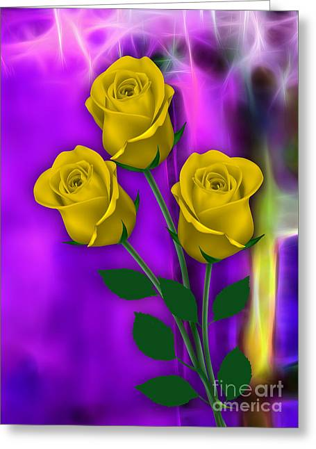 Valentine Greeting Cards - Yellow Roses Collection Greeting Card by Marvin Blaine