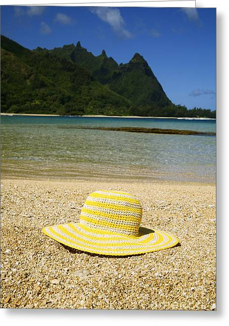 Green Hat Art Greeting Cards - Yellow Straw Hat Greeting Card by Kicka Witte - Printscapes