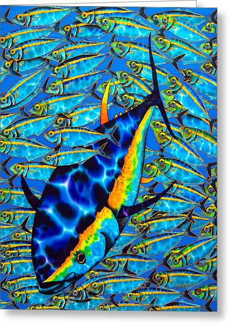 Pelagic Fish Tapestries - Textiles Greeting Cards - Yellowfin Tuna Greeting Card by Daniel Jean-Baptiste