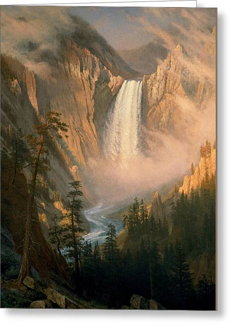 Bierstadt Pastels Greeting Cards - Yellowstone  Falls Greeting Card by Celestial Images