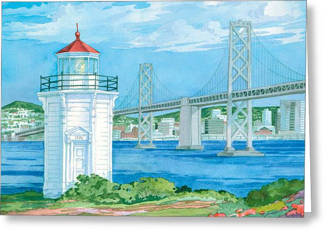 Yerba Buena Greeting Cards - Yerba Buena Lighthouse Greeting Card by Paul Brent