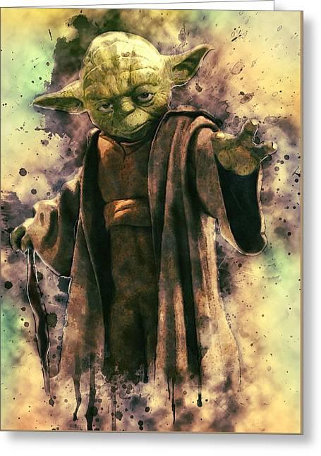 Portrait Poster Digital Art Greeting Cards - Yoda Greeting Card by Taylan Soyturk