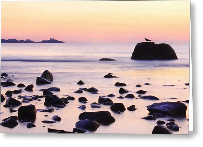 Maine Beach Mixed Media Greeting Cards - York Harbor at Dawn Greeting Card by Lori Deiter