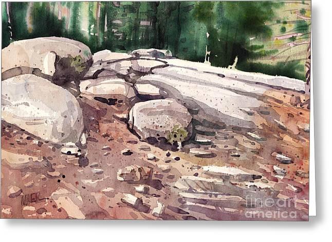 Yosemite Paintings Greeting Cards - Yosemite Granite  Greeting Card by Donald Maier