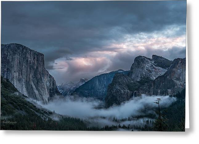 Mountains In Winter Greeting Cards - Yosemite in Clouds Greeting Card by Bill Roberts