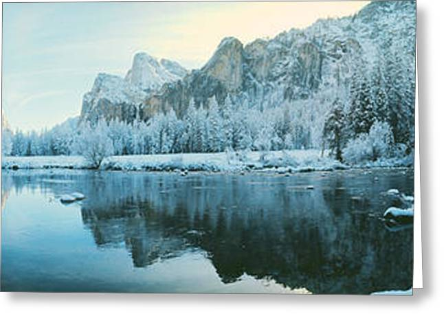 Wintry Photographs Greeting Cards - Yosemite National Park Ca Usa Greeting Card by Panoramic Images